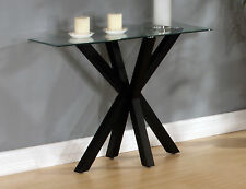 Console Hall Side Table Rectangle Clear Glass Display Stand Black Base