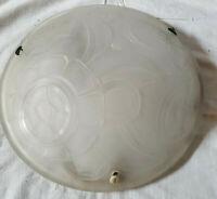 Lustre Vasque verre moulé art-déco Abat-jour style Degué Daum Muller Schneider