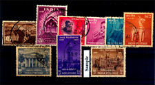 India 1957 Year Unit - Set of 9 Used Stamps - Collector Pack.