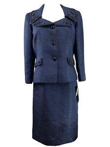 NEW TAHARI LUXE Womens Navy Blue Jacquard Embellised Beaded Skirt Suit Size 6