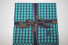 NWT BROOKS BROTHERS Men's Navy Green Stripe/Check 100% Cotton Pocket Square