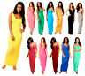 Womens Ladies Plain Muscle Racer Back Sleeveless Bodycon Long Maxi Dress UK 8-26