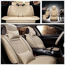 SizeM Deluxe Edition Auto Car Seat Cover Cushion 5-Seats Front + Rear PU Leather