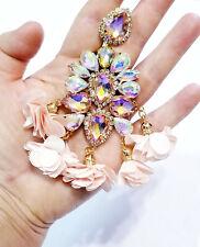 CLIP ON Earrings Rhinestone Crystal Oversized Peach Rose Drop Chandelier 4.8 in