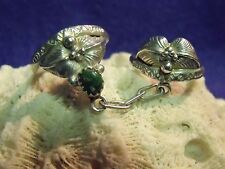 UNIQUE 60'S LADIE'S NAVAHO STERLING AND EMERALD SZ. 8.5 DOUBLE WITCH'S RING