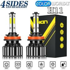 2PCS 4-Sides H11 H8 H9 COB LED Headlight Bulb Foglight Hi/Lo Beam 6000K 120W Kit