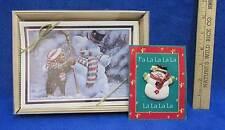 Christmas Cards Bear Building Snowman 20 w/ Envelopes + Bonus Brooch J Bindon