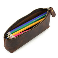 Retro Leather Small Pencil Pen Case Holder Glasses Toolkit Dressing Pocket Bag
