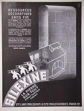 PUBLICITÉ PRESSE 1935 SILEXINE LA PIERRE SUR TOUT ENDUIT PLASTIQUE - ADVERTISING