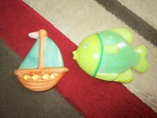 2 x ceramic bathroom plaques fish and boat pictures
