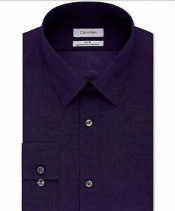 Calvin Klein Mens Dress Shirt Purple Size 16 1/2 Large L Slim Fit $79 #338