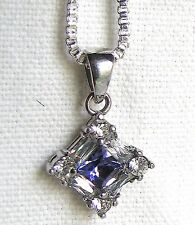 "Fabulous Gift! Sterling Silver Amethyst & CZ Pendant 28"" Box Chain 925 Necklace"