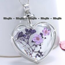 Purple Flower & Heart Pendant Necklace Jewellery Mum Mother Gifts For Her Women