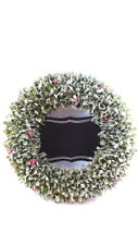 "Christmas Wreath With Blackboard 20"" Write Your Own Message Flocked Leaves"