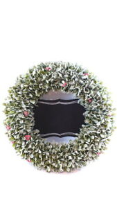 """Christmas Wreath With Blackboard 20"""" WRITE YOUR OWN MESSAGE Flocked Leaves"""