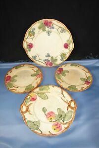 4 pcs. Antique Weller Art Pottery Zona Red Apple Charger-Plates Vint. Circa 1915