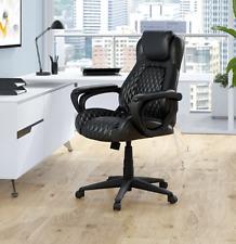New listing Erogonomic Black Executive Lumbar Stitched Leather Swivel Tilting Office Chair