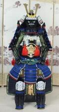 Fer et soie japonais portable Rüstung Samurai armure Black & Blue suit O03