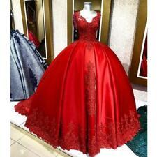 Luxus Perle Kristall Spitze Rot Brautkleider A-Linie Ballkleid Hochzeitskleider
