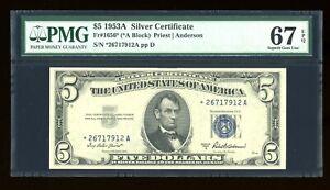 DBR 1953-A $5 Silver Superb Gem STAR Fr. 1656* PMG 67 EPQ Serial *26717912A