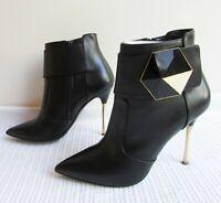 Nicholas Kirkwood Size 39/8 Black Leather Point Toe Gold Stiletto Ankle Boots
