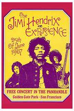 Rock: Jimi Hendrix at San Francisco FREE Concert Poster  1967 4th Printing