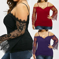 Plus Size Women Off Shoulder Lace Sexy Blouse Long Sleeve Casual Tops T Shirt US
