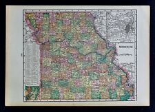 c 1899 Cram Map - Missouri St. Louis Plan Kansas City Jefferson Springfield MO