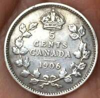 1906 Canada 5 Cents KEY DATE.925 Silver Edward VII **aUNC**HG LUSTER COIN