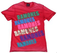 Amplified Ramones Rock Star Vip STRASS VINTAGE ROSSO BLEACHED T-shirt G.S RARO