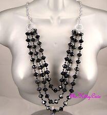 Bicone Bead Tier Chain Catwalk Necklace Silver Chic Deco Long Multi-Strand Black