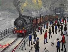 Original BEST Oil Painting Noted Artist James Downie : Shift Change at Pit Head