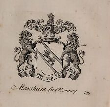 1779 ANTIQUE PRINT ~ MARSHAM ~ FAMILY CREST COAT OF ARMS LORD ROMNEY