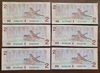 6 x 1986 $2 Bank of Canada Notes - Prefix BU - Circulated