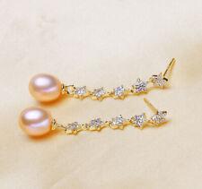 La cría conlleva agua dulce perlas 925er Sterling plata aretes ohrhänger pendiente dama