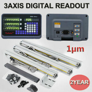 1µm 3Axis Digital Readout DRO + 3pc Linear Scale Kit Mill Lathe High Precision