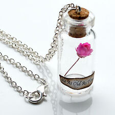 Beauty and the Beast Enchanted Rose Bottle Necklace Belle DisneyJewellery