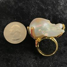 NATURAL RARE JUMBO BAROQUE 35x29mm PEARL GOLD RUBY ON 925 STERLING SILVER RING
