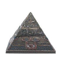 "5.5"" Egyptian Pyramid Double Tier Trinket Box Egypt Decor Statue Home Sculpture"
