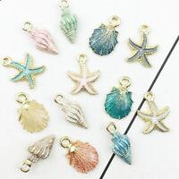 13 Pcs/Set Mixed Starfish Conch Shell Metal Charms Pendant Jewelry Making DIY