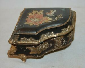 Vintage Grand Piano Jewelry Music Box  Bird & Flower Japan