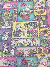 Easter Bunny Eggs Bicycle Baskets Cotton Fabric OOP 26X43 Remnant