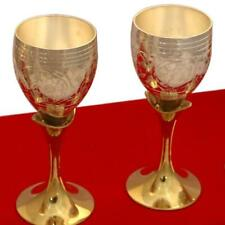 Indian Handicraft Gold Silver Coated Brass Two Tone Mini Wine Goblet Glass Set