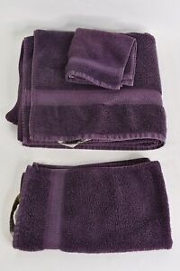 3 Pc. Duet Eggplant Purple 100% Cotton Towel Set W/Bath Hand Washcloth Bathroom