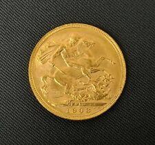 More details for 22ct gold coin edward vii full sovereign 1908 melbourne mint 8g