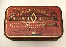Antique 1900's Chi-Ches-Ters Diamond Brand Pills Tin Pharmacy Drug Store Seal