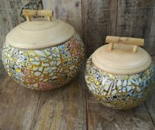 More details for two spun bamboo hand painted eggshell lidded pots from vietnam ethical fairtrade