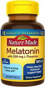 60 Count Nature Made Softgels Melatonin For Better Sleep with 200mg L-theanine