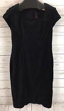 Shape FX by Newport News Sheath Dress Black Stretch Velvet Cap Sleeve Sz 10 NWT