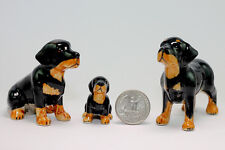 Rottweiler Family Miniature Ceramic Animals Figurine,Collectibles,terrarium dogs